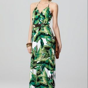 Milly of New York Dresses - Milly of New York green halter palm print maxi